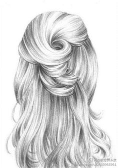 make beautiful hair Pencil Art Drawings, Realistic Drawings, Art Drawings Sketches, Cute Drawings, Hair Drawings, Figure Drawing, Painting & Drawing, Art Du Croquis, Hair Illustration