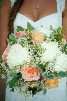 White Chrysanthemums, Sherbet Roses, Peach Roses, White Wax Flower ...
