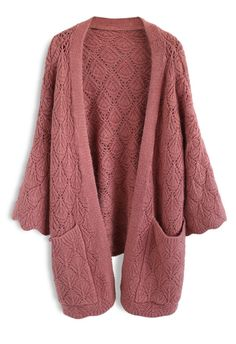 Cozy Touch Diamond Open Knit Cardigan in Brick Red - New Arrivals - Retro, Indie and Unique Fashion
