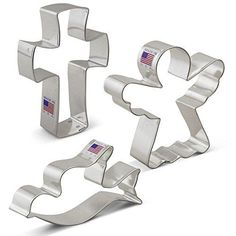 Religious Christmas Cookie Cutter Set  3 Piece  Angel Cross and Dove  Ann Clark Cookie Cutters  US Tin Plated Steel -- For more information, visit image link.