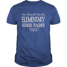 Elementary School Teacher Keep Calm or I Will Use My Voice T-Shirts, Hoodies. Get It Now ==► https://www.sunfrog.com/Jobs/Elementary-School-Teacher-Voice-Shirts-Royal-Blue-Guys.html?41382