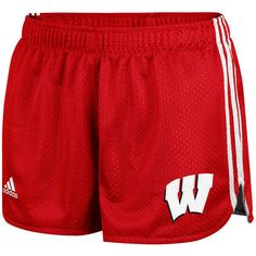 adidas Wisconsin Badgers Women's Mesh Shorts - Cardinal ($25) ❤ liked on Polyvore featuring activewear, activewear shorts, red, adidas sportswear, adidas and adidas activewear