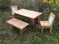 Rustic kids table with chairs and bench. Find us on Facebook  Monceret's Fine Woodworking