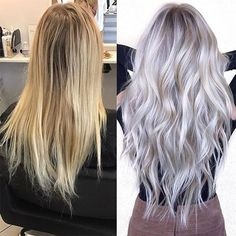 Hair Color Trends In 2019 Before & After: Highlights On Hair + Tips;T… Hair Color Trends In 2019 Before & After: Highlights On Hair + Tips;Trendy Hairstyles And Colors Women Hair Colors; Blonde Grise, Platinum Blonde Hair, Blonde To Grey Hair, Icy Blonde, Silver Platinum Hair, Gray Hair, Platinum Blonde Highlights, Ash Blonde Balayage Silver, Platinum Hair Extensions