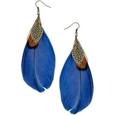 Blue Feather Drop Earrings ❤ liked on Polyvore
