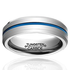 6mm Blue Line Plated Tungsten Carbide Wedding Band Ring Brushed Polish Finished Comfort Fit