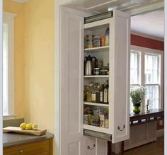 Clever use of a small space, great for condo kitchen remodel.