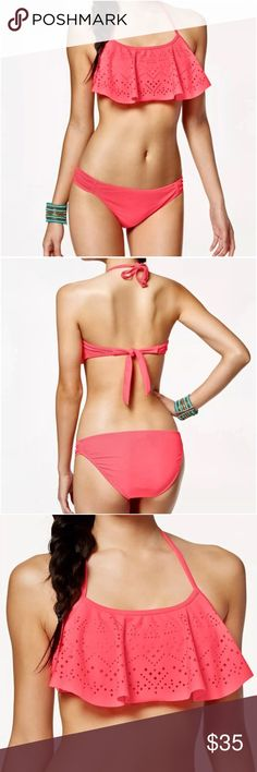 List! Coral Laser Cut Flounce Bikini! NEW! Top is a size large, bottoms are a size XL. Nylon/spandex. New with tags. California Waves Swim Bikinis