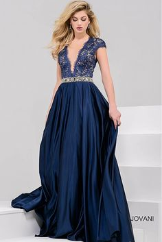 Navy Lace Bodice and Satin Skirt Evening Ballgown 28925