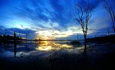 Sunset Lake Kariba . Fish-eye lens shot (oh how I want one!) by Uhlenhorst, via Flickr