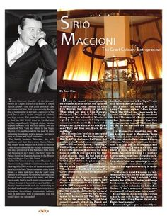 Sirio Maccioni - The Great Culinary Entrepreneur by Amici Journal of Italian-American