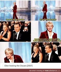 Ellen on Leonardo DiCaprio at the Oscars Funny Cute, The Funny, Hilarious, Tumblr Funny, Funny Memes, Jokes, Funny Videos, Rage Comics, Just For Laughs
