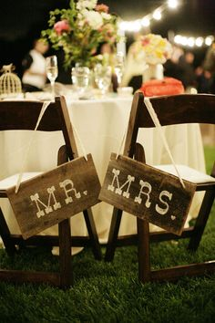 painted Mr. and Mrs. signs