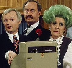 'Are You Being Served' - Mr Humphries, Captain Peacock & Mrs. Slocombe -- I loved watching this show on PBS back in high school! British Tv Comedies, Classic Comedies, British Comedy, English Comedy, Are You Being Served, British Humor, Vintage Television, Bbc Tv, Comedy Tv