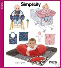 BABY ACCESSORIES SEWING PATTERN / RESTAURANT CHAIR COVER / SINGLE- DOUBLE GROCERY CART COVER / QUILT / BIB / BAG / CLOTH DOLL. $6.99, via Etsy.