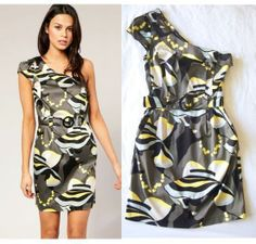 FRENCH CONNECTION 'Lady Print' Single Shoulder Belted Waist Dress 4 S