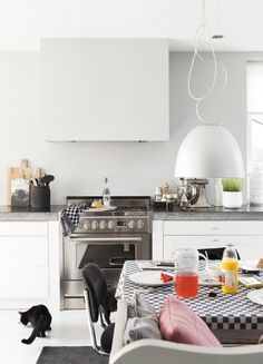 Styling Suzanne de Jong   Photographer Jansje Klazinga   vtwonen maart 2015 #vtwonen #magazine #interior #inspiration #kitchen #idyllic #white #lamp #table #chairs #cat