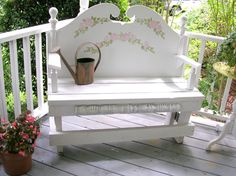 I really want this beautiful bench in my garden.  It was made from a bed headboard, 2x4's, spindles, and scrap wood.  robomargo.com