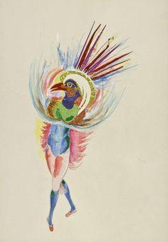 """Sara Lipska Projekt kostiumu do baletu """"Taniec ptaków"""" ok. 1950 akwarela, gwasz, ołówek, kolaż na papierze Musées de Poitiers fot. Christian Vignaud"""