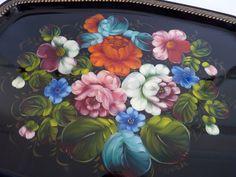 Detail Zhostovo style russian folk art
