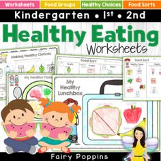 These healthy eating activities help kids learn about nutrition, food groups and how to make healthy food choices. The worksheets are great for kids in preschool, kindergarten, first grade and second grade. Senses Activities, Nutrition Activities, Motor Activities, Nutrition Education, Activities For Kids, Nutrition Guide, Measurement Activities, Nutrition Classes, Holistic Nutrition