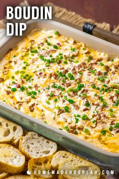 This Louisiana-inspired Boudin dip is baked hot and bubbly with spicy Boudin Cajun sausage, a mix of cheeses, and sour cream. Perfect for parties or game day! day appetizers Cheap day appetizers For Two Cajun Appetizers, Southern Appetizers, Finger Food Appetizers, Appetizer Dips, Appetizers For Party, Appetizer Recipes, Party Dips, Mardi Gras Appetizers, Party Treats