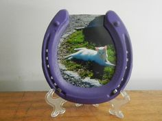 Purple Picture frame with stand, girls room, lucky, horse shoe, colorful, horse, farmhouse, horse decor, 4x6 photo, rodeo decor, cowgiirl by APhorseshoes on Etsy