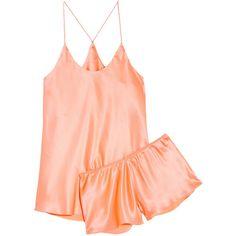 Olivia von Halle Bella silk-satin pajama set (7.890 RUB) ❤ liked on Polyvore featuring intimates, sleepwear, pajamas, coral and silk satin pajamas