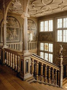 Stair case in Knole House, Kent, England. A Tudor Palace.