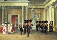 Russian Court dress in painting. Adolphe I. Ladurner. Interiors of the Winter Palace. Part of the White (Armorial) Hall. 1838. #history #Russian #court #dress