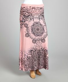 Love this Light Pink & Charcoal Abstract Maxi Skirt - Plus by Poliana Plus on #zulily! #zulilyfinds