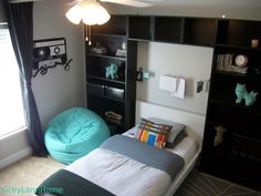 Preteen Dreams, We recently redecorated our preteens room on a budget as a Xmas gift. , Large bean bag purchased at pottery barn. , Boys' Rooms Design