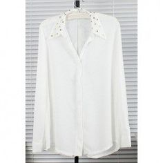 @SammydressPin #PinTOwin #PinToWin. $5.86 Graceful Invisible Button Design Studded Shirt Collar Long Sleeves White Chiffon Shirt For Women
