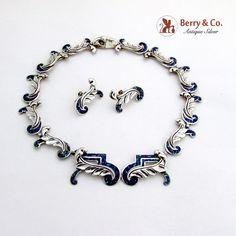 Vintage Margot De Taxco Necklace Earrings Set Sterling Silver Enamel
