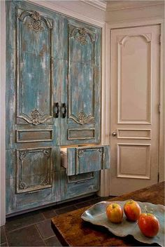 Love this distressed blue refrigerator/freezer Roses and Rust: The Art of Concealment