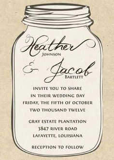 Mason Jar Invitations And Chalkboard Tags For Weddings Or Showers Embellished With Wooden Heart Free Printable