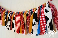 Farm Fabric Tie Garland  Farm Garland  Farm by ThePartyTeacher | $29 Infant Classroom, New Classroom, Classroom Themes, Farm Classroom Decorations, Preschool Rooms, Preschool Classroom, Preschool Crafts, Preschool Farm, Kindergarten