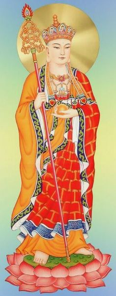 KSITIGARBHA | Usually depicted as a monk with a halo around his shaved head, he carries a staff to force open the gates of hell and a wish-fulfilling jewel to light up the darkness.