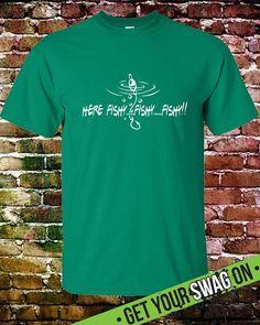 Here Fishy Fishy T shirt – Swag Art Designs T shirt – Graphic Fishing T Shirt for Dad