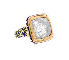 Diamond Slice Kundan Enamel* Ring