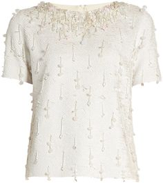 Ashish Sequin-embellished Short-sleeved Cotton Top In White Embellished Shorts, Sequin Shorts, Sequin Top, White Short Sleeve Tops, White Tops, Black White, Wide Leg Trousers, Women Wear, Sequins