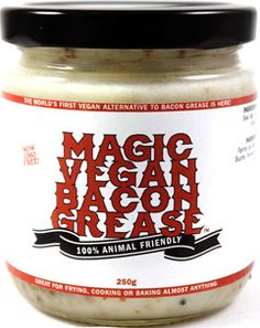 """Magic Vegan Bacon Grease  This kind of grosses me out because the idea of adding """"grease"""" to something just sounds nasty.  But a lot of southern cooking relies heavily on it.  It is really just coconut oil with flavorings so it might be worth a try if I'm feeling daring."""