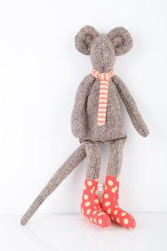 DOLL ooak City mouse in black and white woven pure silk wears red  dotted  yellow socks and striped Scarf  - timohandmade fabric doll