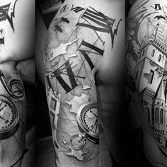 Amazing World Map With Compass Guys Roman Numeral Half Sleeve Tattoo Inspiration