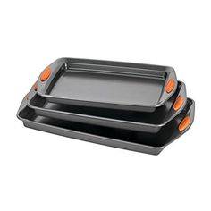 Offering three popular-sized baking pans, the Rachael Ray Yum-o! Nonstick Bakeware 3-Piece Oven Lovin' Cookie Pan Set is ideal for making both savory and sweet treats. These cookie pans are made from durable carbon steel that resists warping and feature long-lasting nonstick that provides... more details available at https://www.kitchen-dining.com/blog/bakeware/product-review-for-rachael-ray-oven-lovin-nonstick-bakeware-3-piece-baking-and-cookie-pan-set/
