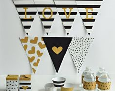 Print Your Own Party- Black, White and Gold Alphabet banner, cupcake wrappers, drink labels, and gift boxes