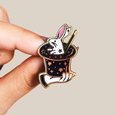 Gold Finish Magic Bunny Hard Enamel Pin by lillybaik on Etsy