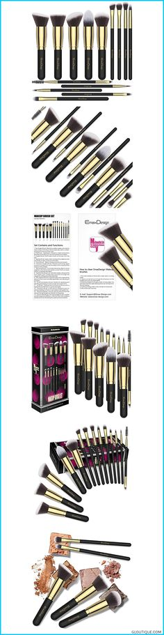 Highest quality bristle: High density fluffy bristle, soft but firm to hold makeup. NO SHEDDING! Premium synthetic fiber materials provide an incredib#women EmaxDesign Makeup Brushes 14 Pieces Professional Makeup Brush Set Synthetic Foundation Blending Concealer Eye Face Liquid Powder Cream Cosmetics Brushes Set (Golden Black) #EmaxDesign #Makeup #Brushes #14 #Pieces #Professional #Makeup #Brush #Set #Synthetic #Foundation #Blending #Concealer #Eye #Face #Liquid #Powder #Cream #Cosmeti