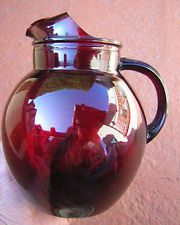 """Royal Ruby Depression Glass   vintage 9"""" ROYAL RUBY RED DEPRESSION GLASS BALL WATER PITCHER upright ..."""