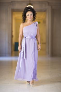 VENUS: Available in gray (size 8-10), lilac (4-6) Sample sale price $60. emulating the traditional roman goddess of love and beauty, this classic one-shouldered dress in chiffon is perfect for goddesses of all shapes and sizes - hourglass, busty or small-chested, rectangle or apple. the stunning keyhole shoulder-tie adds a touch of glamour. make this style your own by switching our sash for yours. Exclusive to Chic Bridesmaid